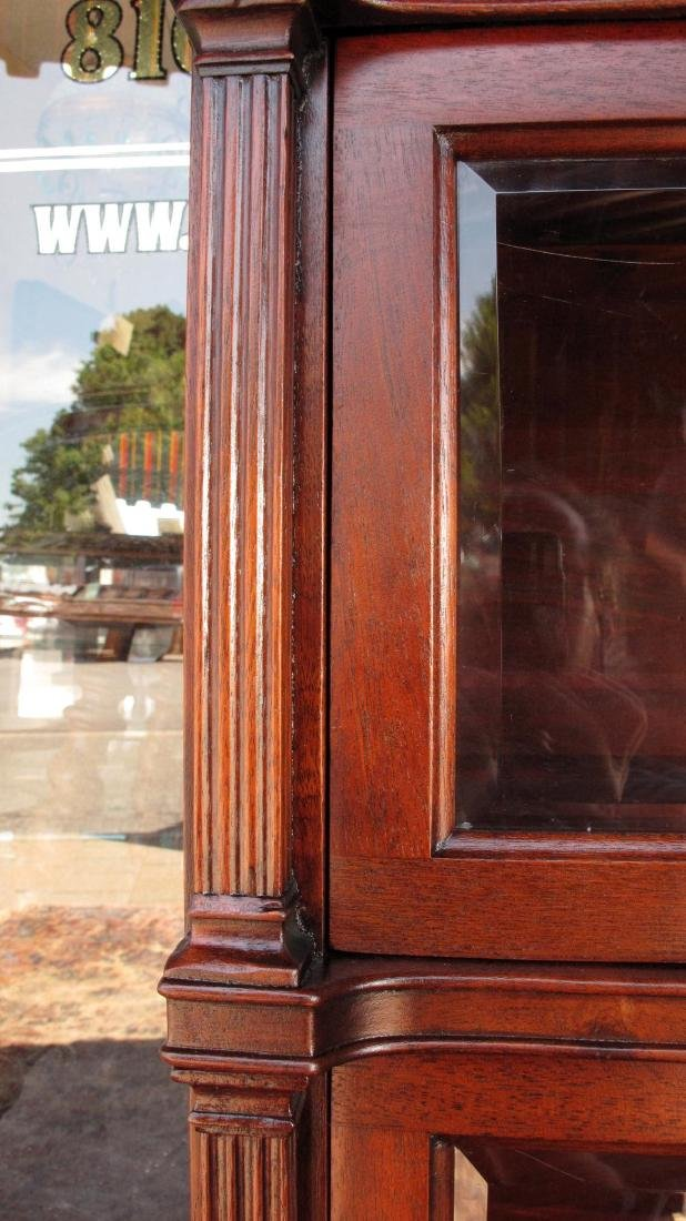 A RARE STACK BOOKCASE WITH CUBBY BETWEEN LEADED GLASS - 6