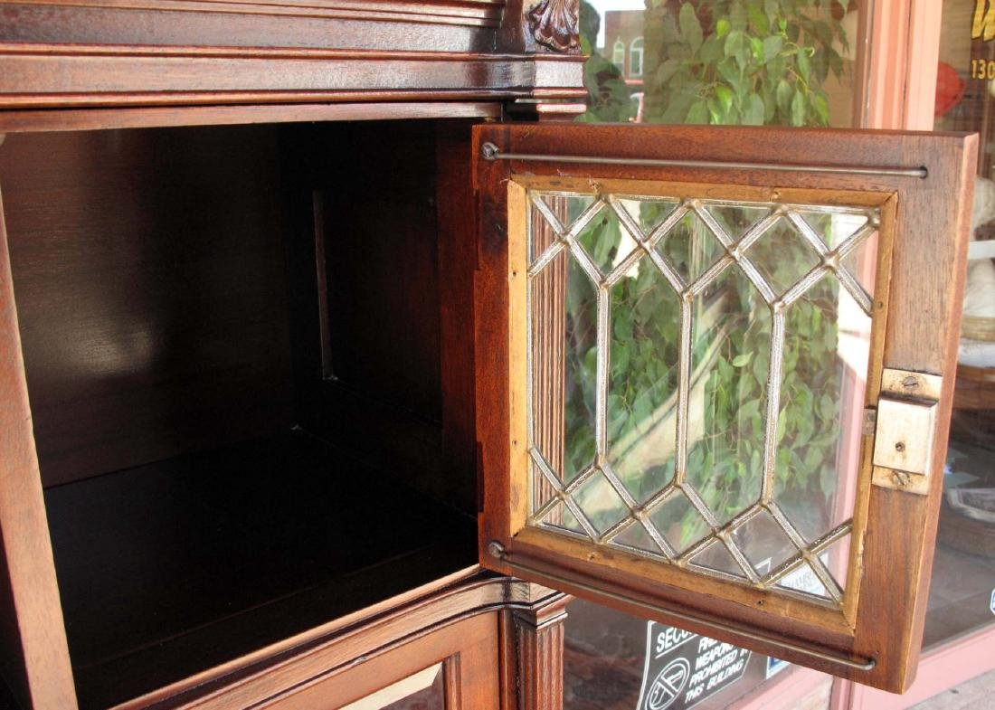 A RARE STACK BOOKCASE WITH CUBBY BETWEEN LEADED GLASS - 7