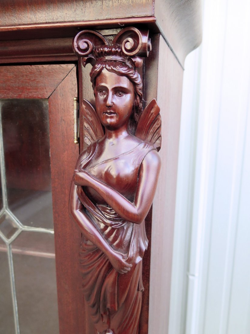 A MAHOGANY WINGED LADY BOOKCASE WITH LEADED GLASS DOORS - 2