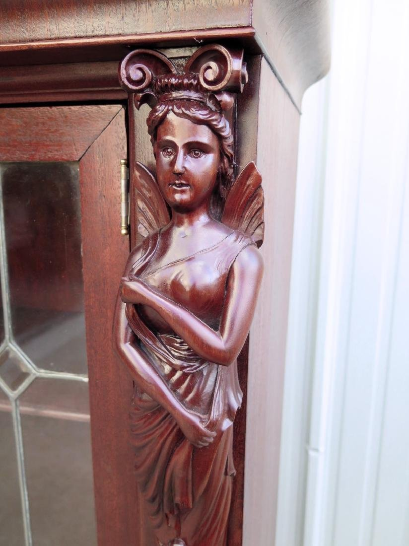 A MAHOGANY WINGED LADY BOOKCASE WITH LEADED GLASS DOORS - 6
