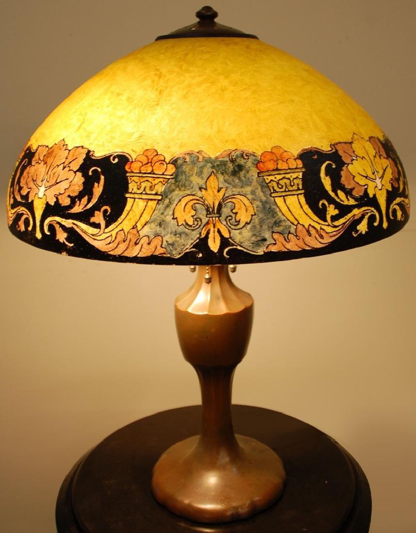 HANDEL FLEUR-DE-LIS OBVERSE-PAINTED TABLE LAMP