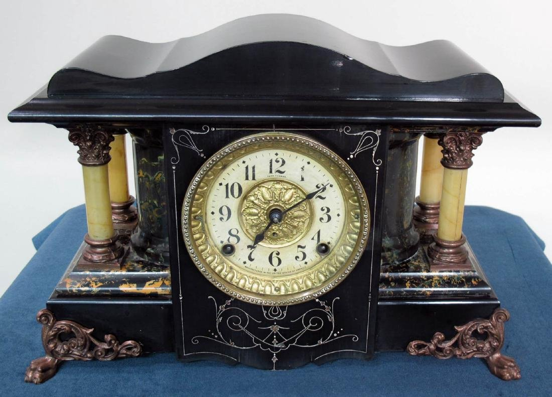SETH THOMAS ANTIQUE EBONIZED CLOCK