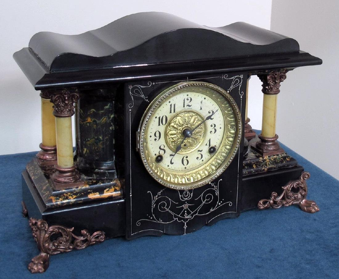 SETH THOMAS ANTIQUE EBONIZED CLOCK - 5
