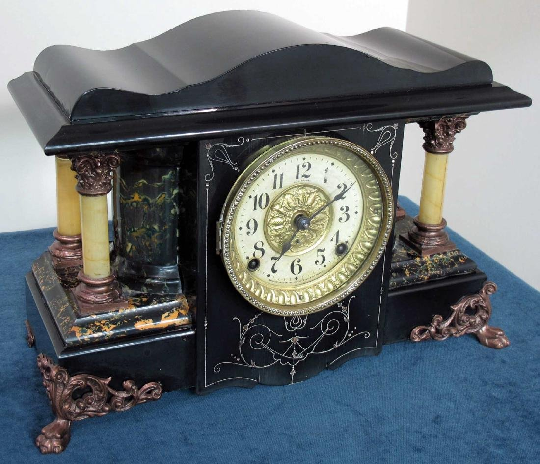 SETH THOMAS ANTIQUE EBONIZED CLOCK - 6