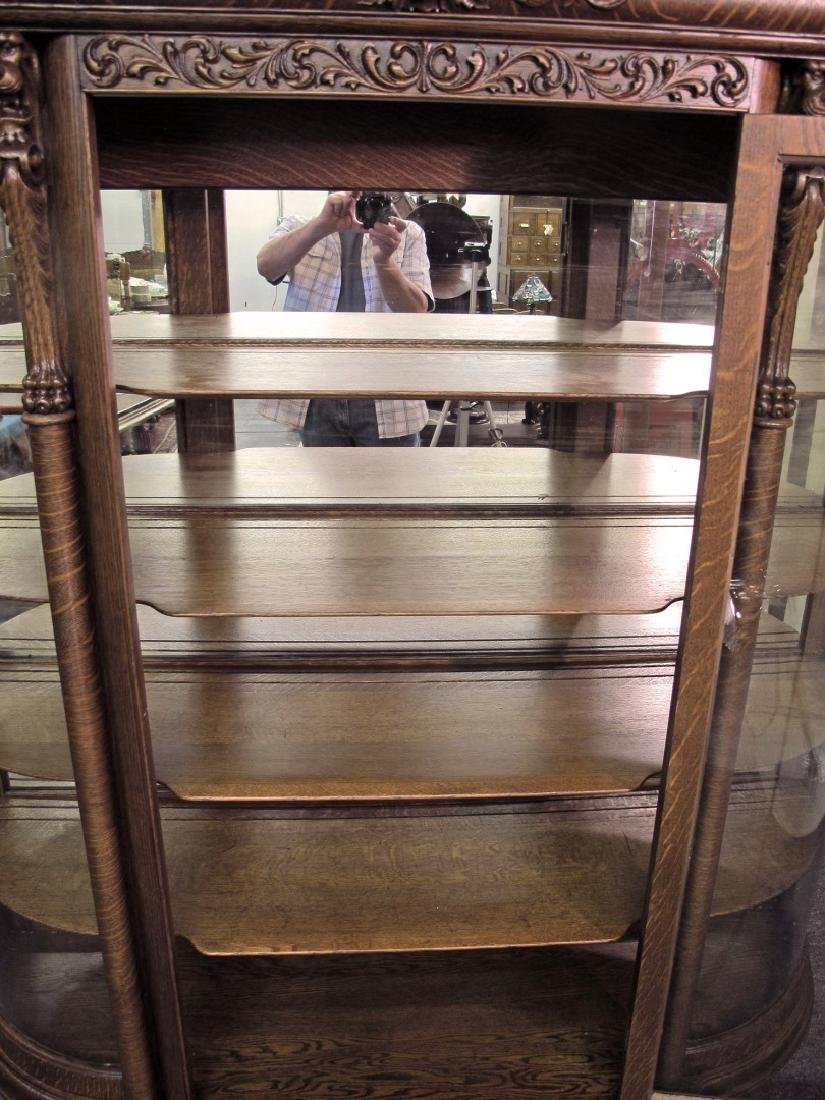 OAK CURVED GLASS TRIPLE MIRROR GRIFFIN CHINA CABINET - 10