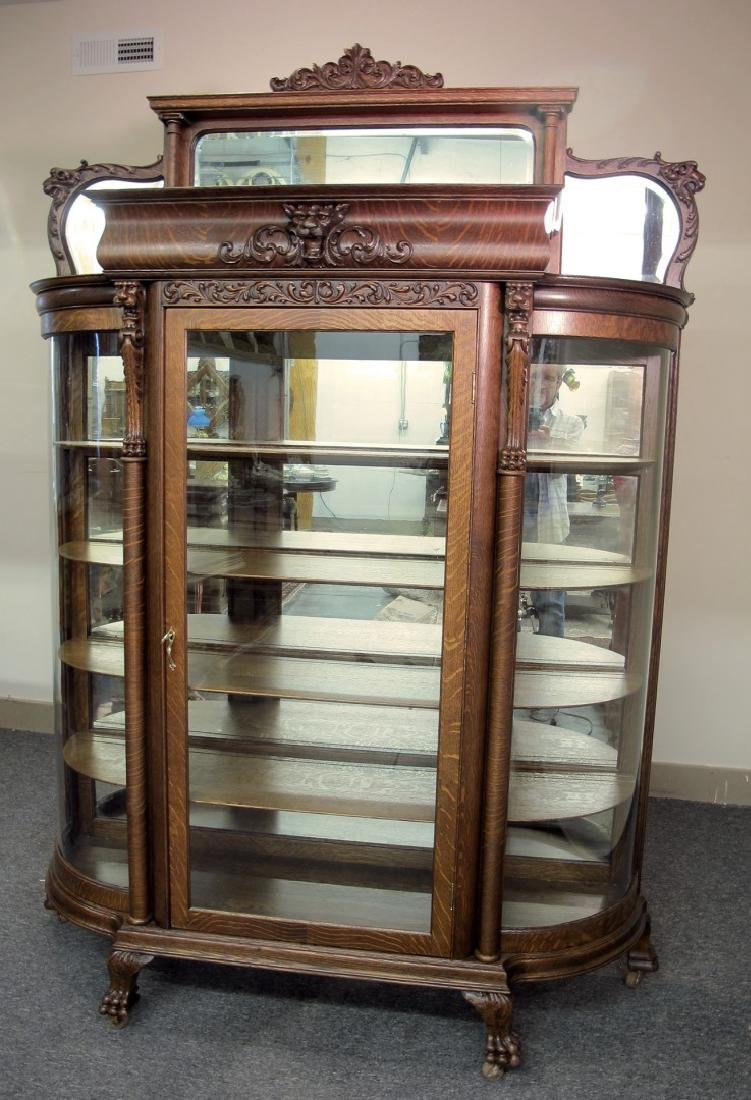 OAK CURVED GLASS TRIPLE MIRROR GRIFFIN CHINA CABINET