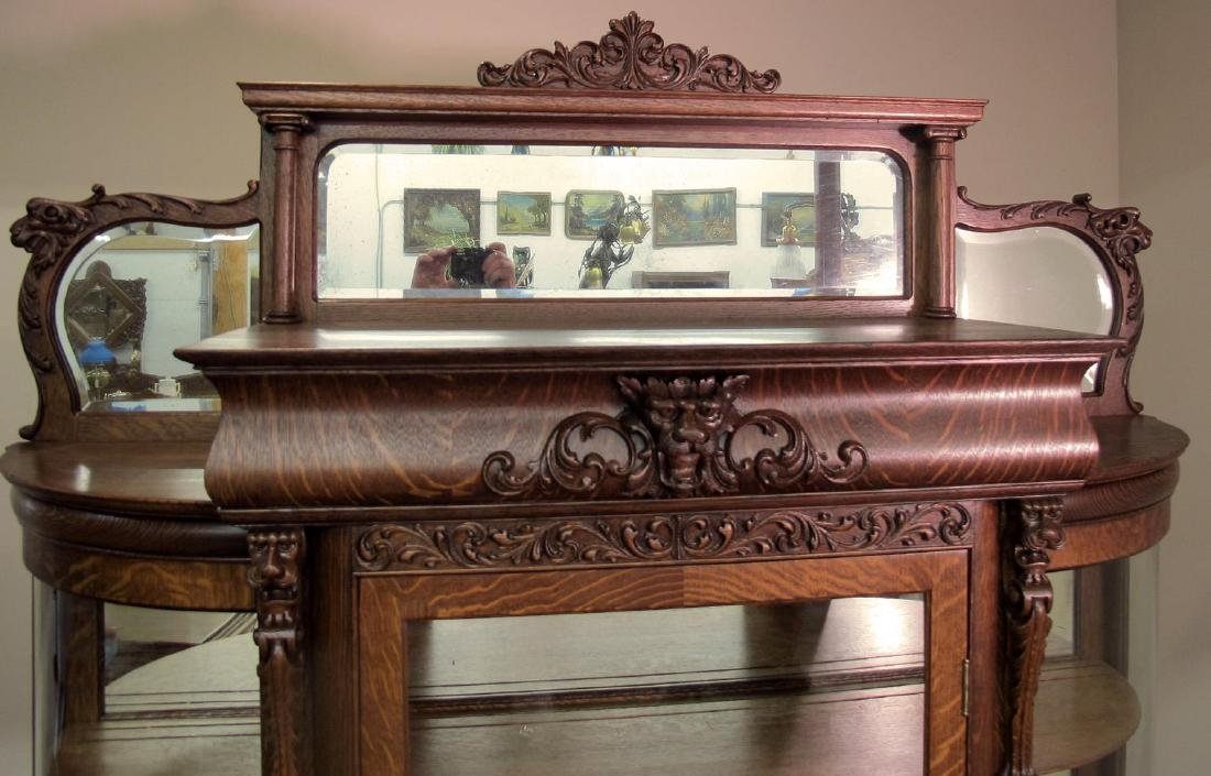 OAK CURVED GLASS TRIPLE MIRROR GRIFFIN CHINA CABINET - 2
