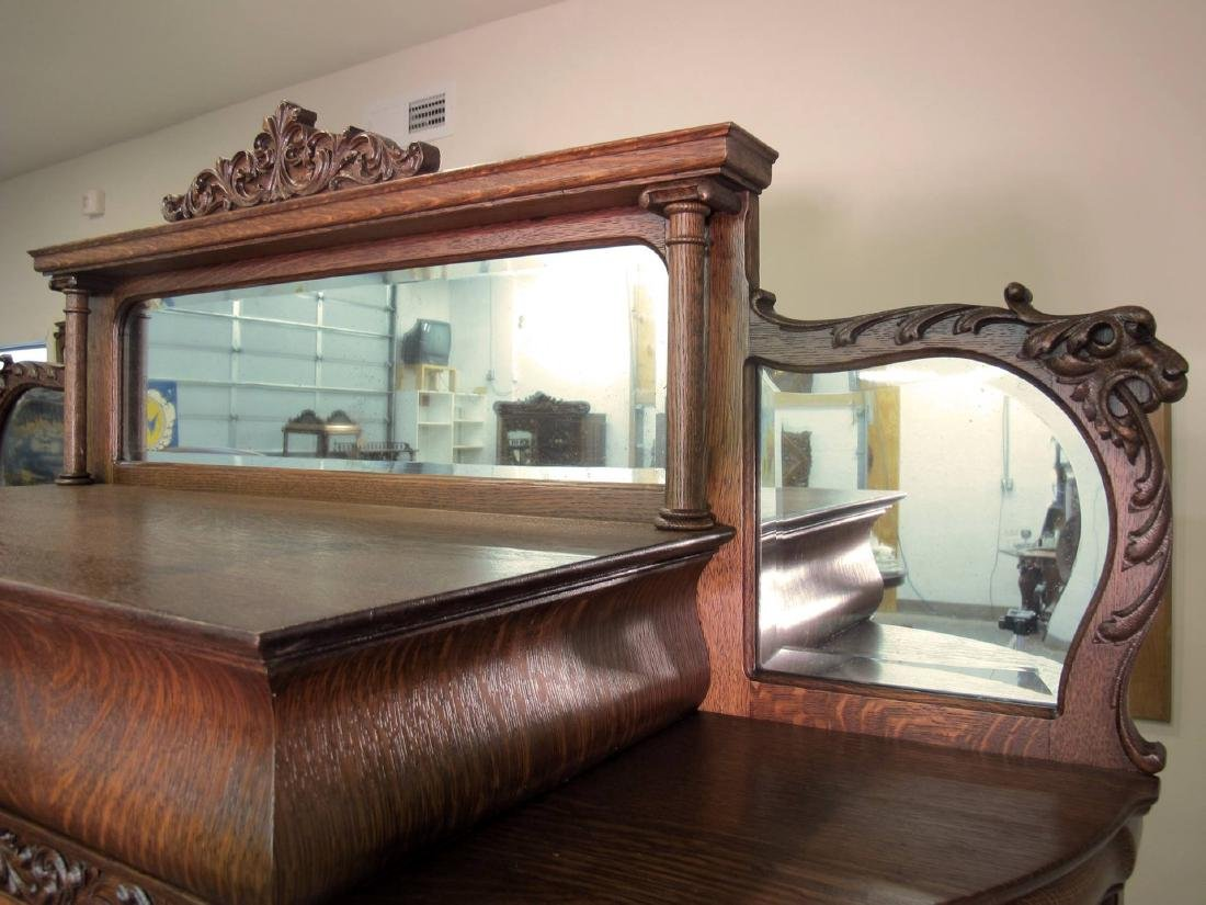 OAK CURVED GLASS TRIPLE MIRROR GRIFFIN CHINA CABINET - 3