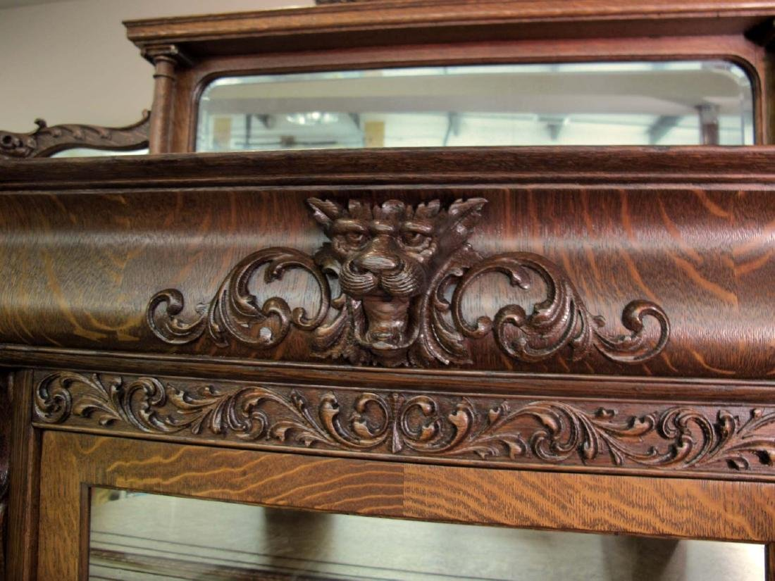 OAK CURVED GLASS TRIPLE MIRROR GRIFFIN CHINA CABINET - 4