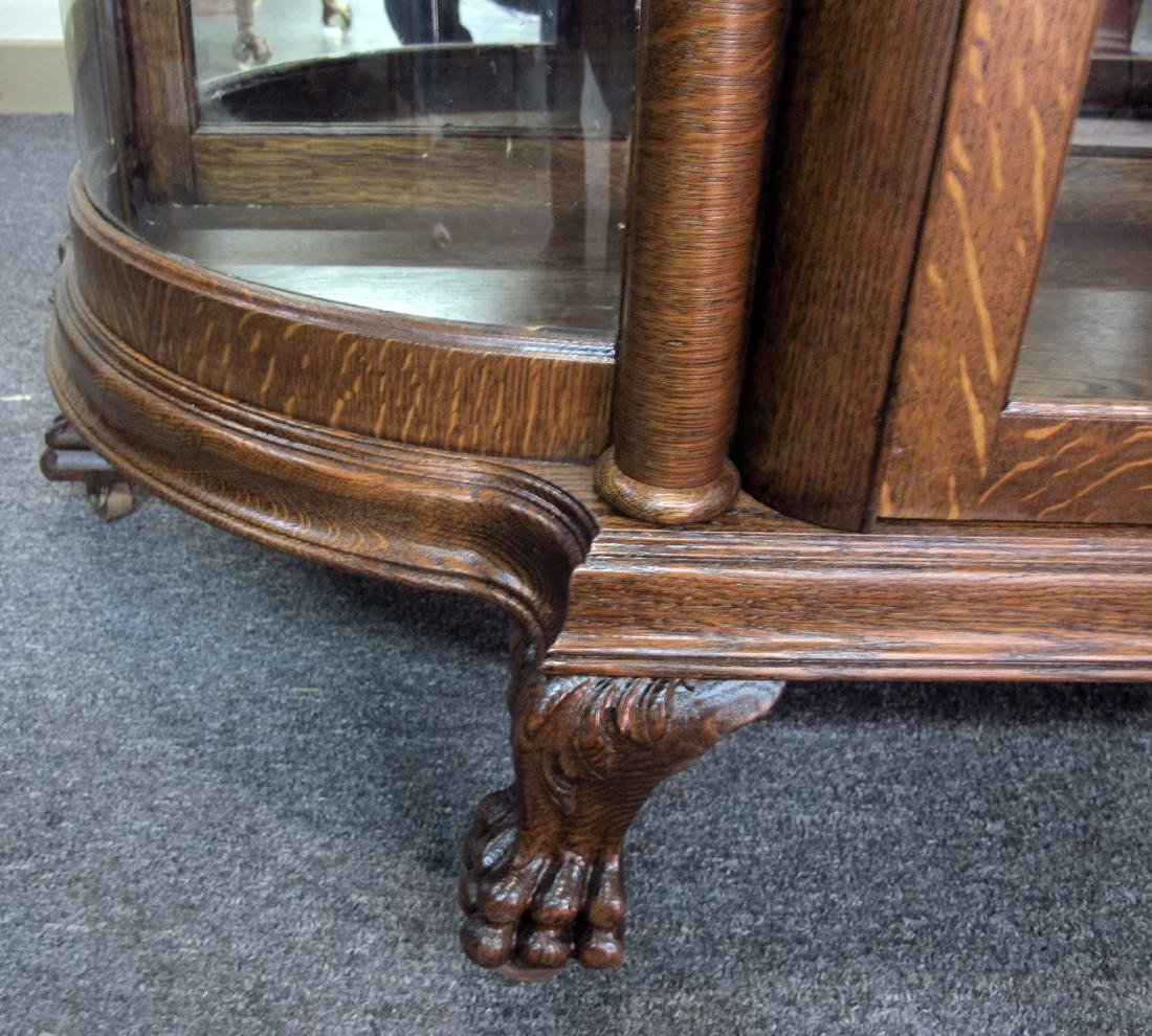 OAK CURVED GLASS TRIPLE MIRROR GRIFFIN CHINA CABINET - 6