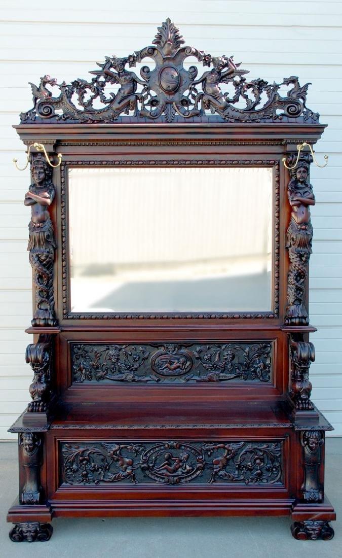 A CUSTOM MONUMENTAL HORNER-STYLE MAHOGANY HALL SEAT