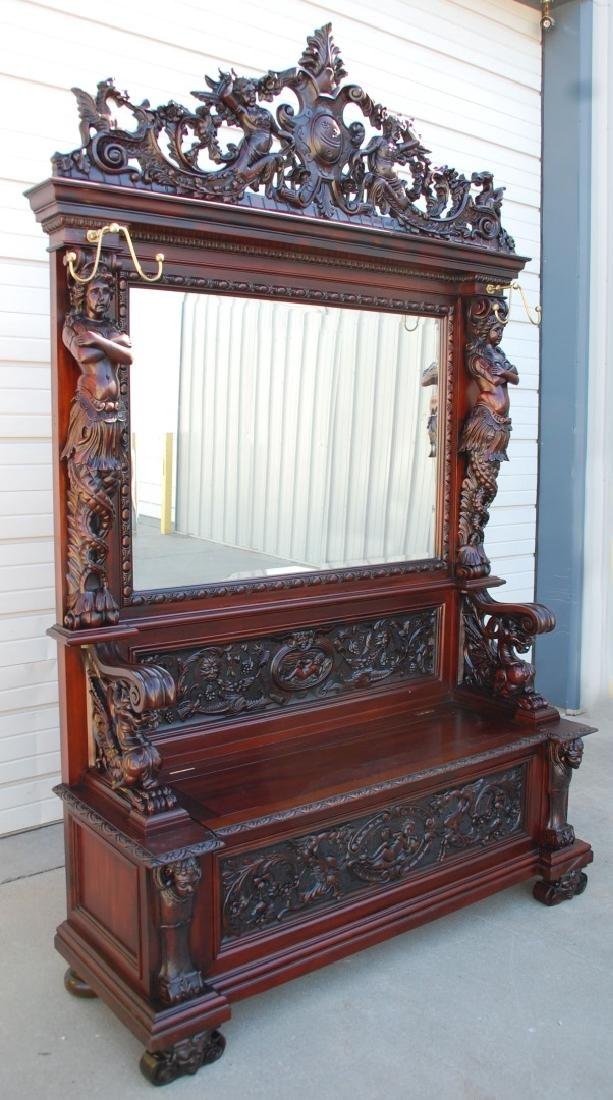 A CUSTOM MONUMENTAL HORNER-STYLE MAHOGANY HALL SEAT - 2