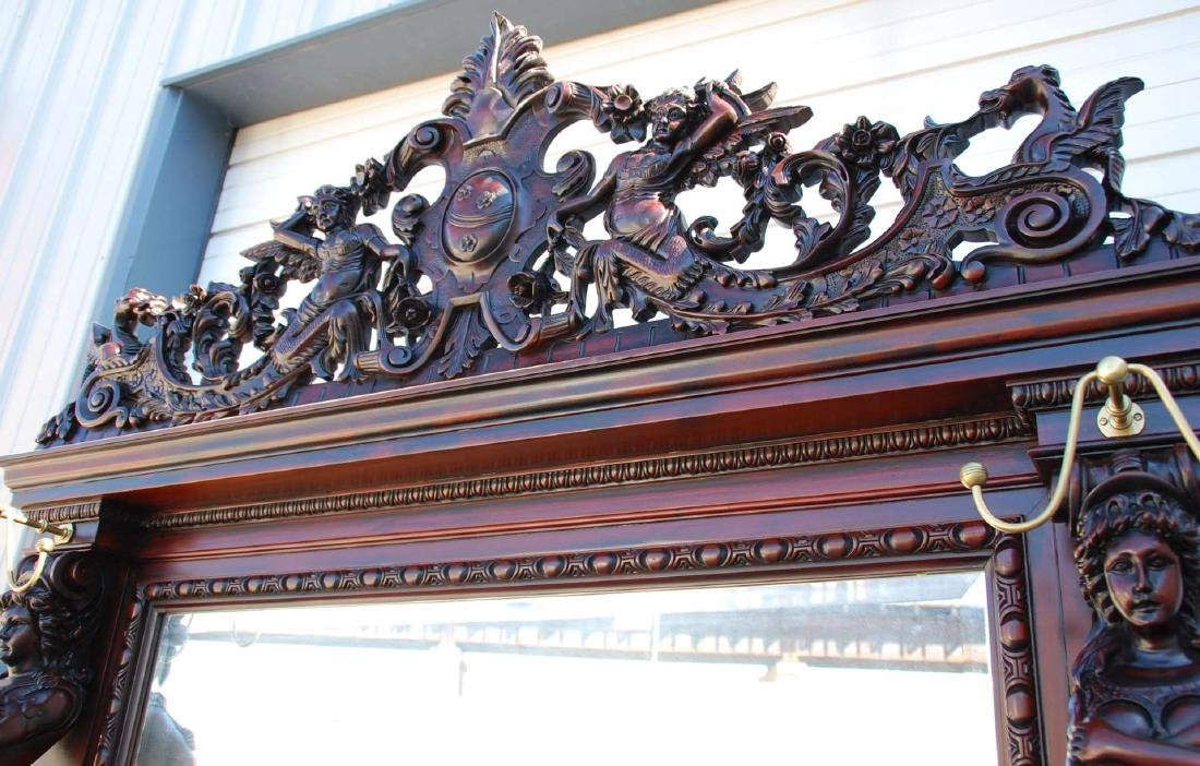 A CUSTOM MONUMENTAL HORNER-STYLE MAHOGANY HALL SEAT - 7