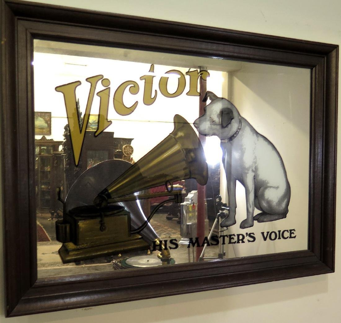 A 20TH C. VICTOR PHONOGRAPH ADVERTISING MIRROR