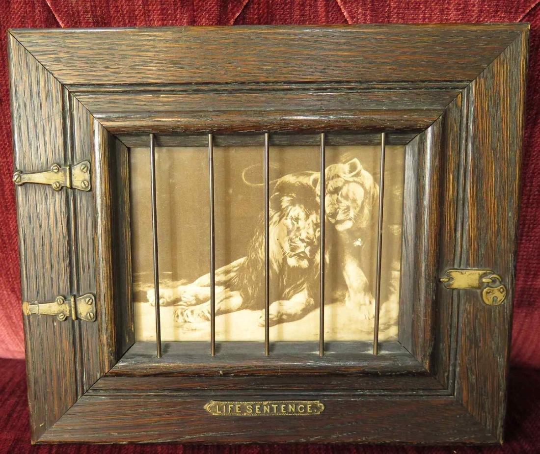 CIRCA 1900 CAGED LION SHADOWBOX FRAMED PRINTS