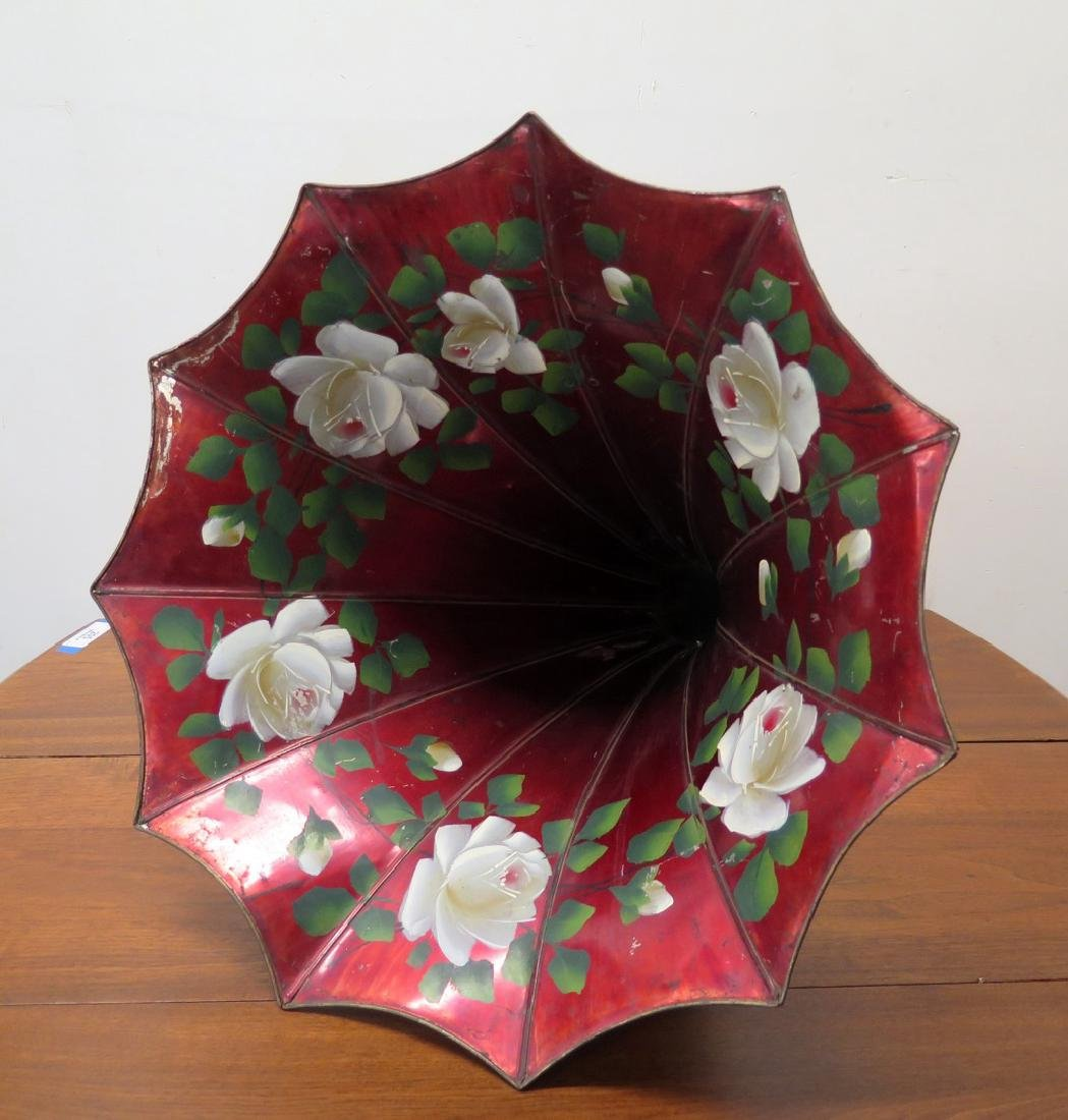 A RED MORNING GLORY PHONOGRAPH HORN WITH FLORALS