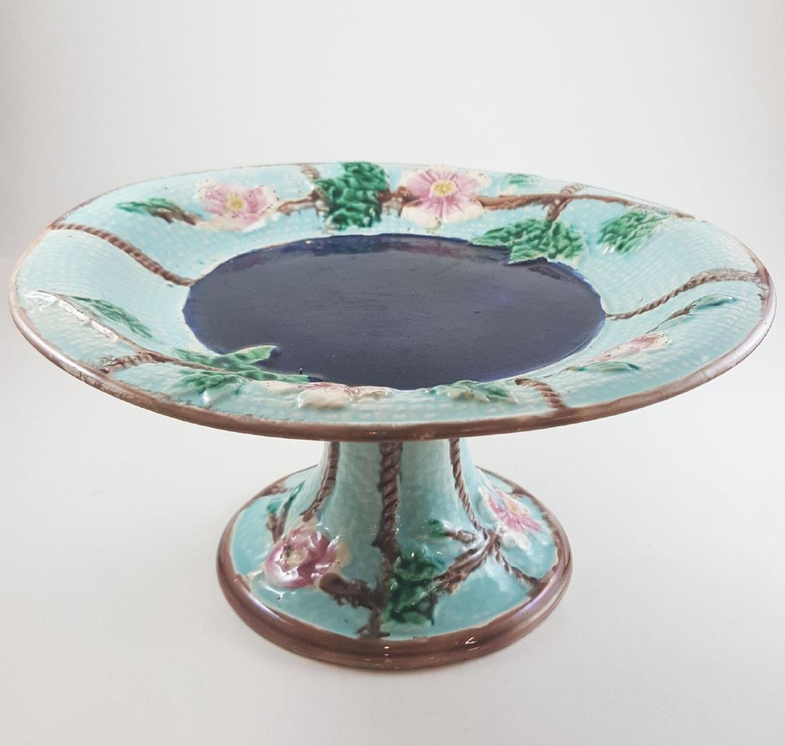 MAJOLICA FLORAL COMPOTE AND LEAF PLATE