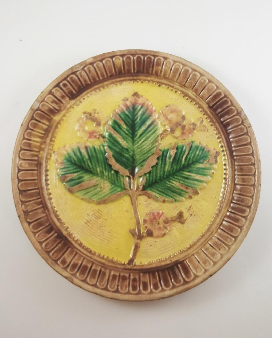 MAJOLICA FLORAL COMPOTE AND LEAF PLATE - 7