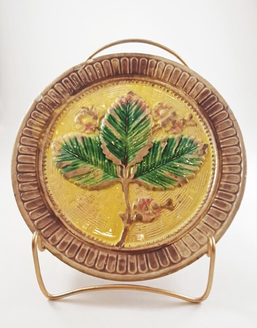 MAJOLICA FLORAL COMPOTE AND LEAF PLATE - 9