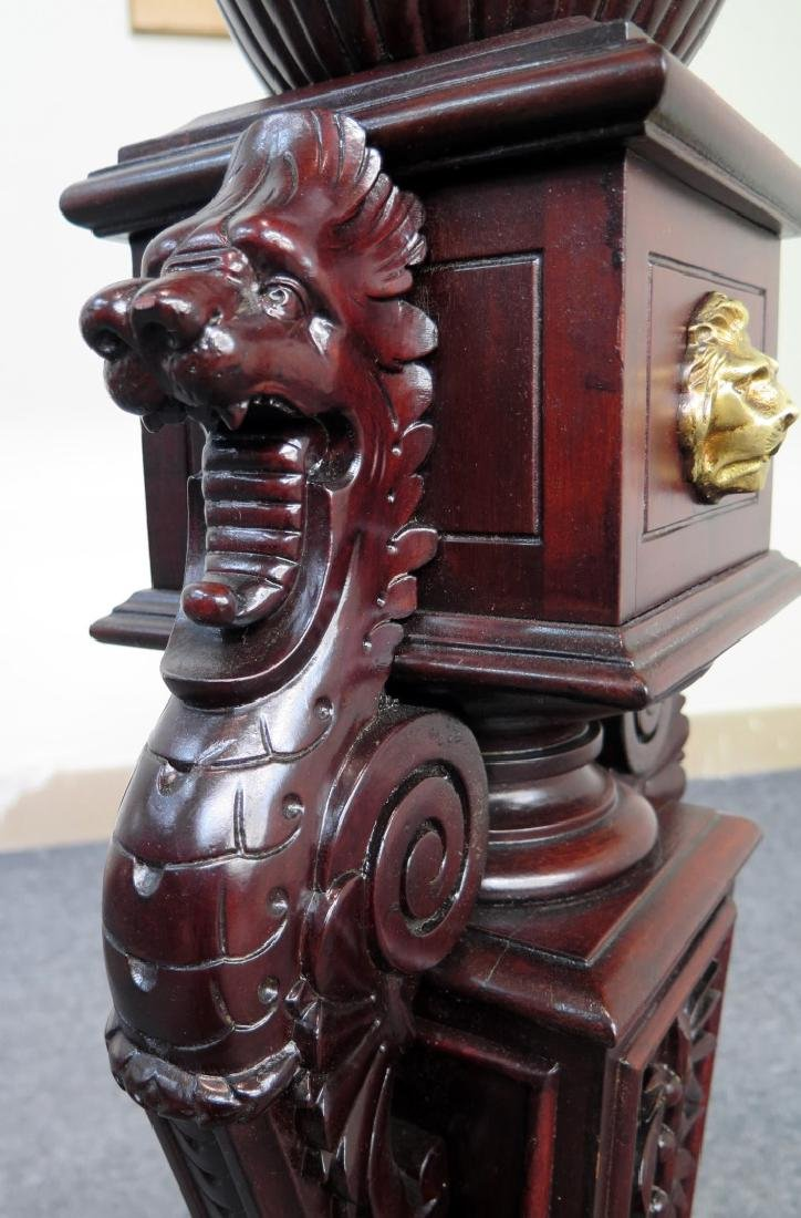 CHERRY DOUBLE GRIFFIN FIGURAL PEDESTAL WITH CLAW FEET - 6