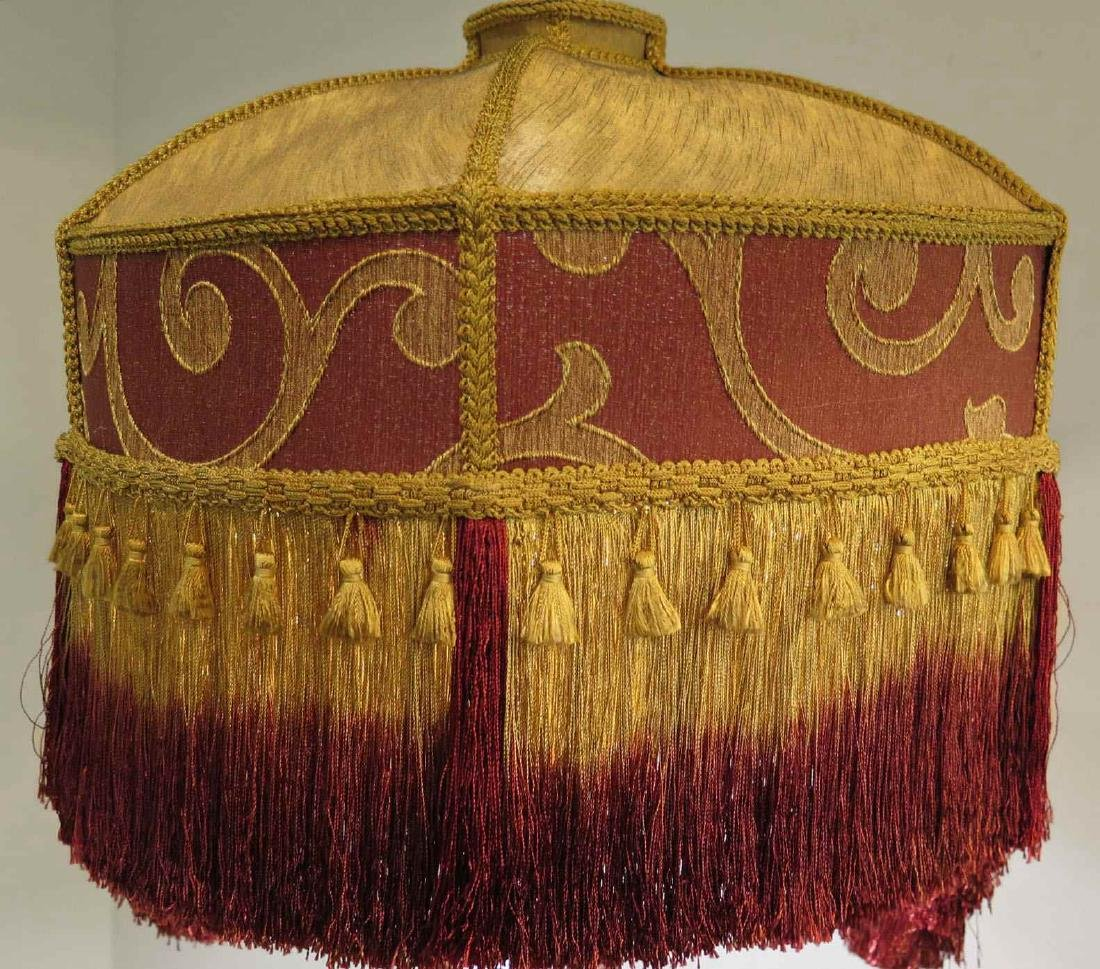 GOLD AND MAROON FLORAL VICTORIAN-STYLED LAMP SHADE - 2