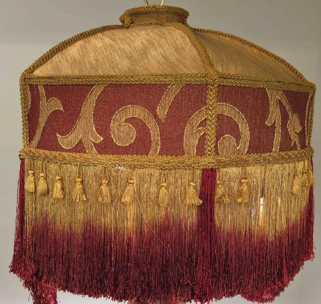 GOLD AND MAROON FLORAL VICTORIAN-STYLED LAMP SHADE - 3