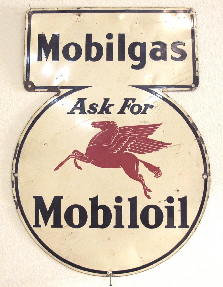 CIRCA 1941 MOBILOIL MOBILGAS ADVERTISING SIGN