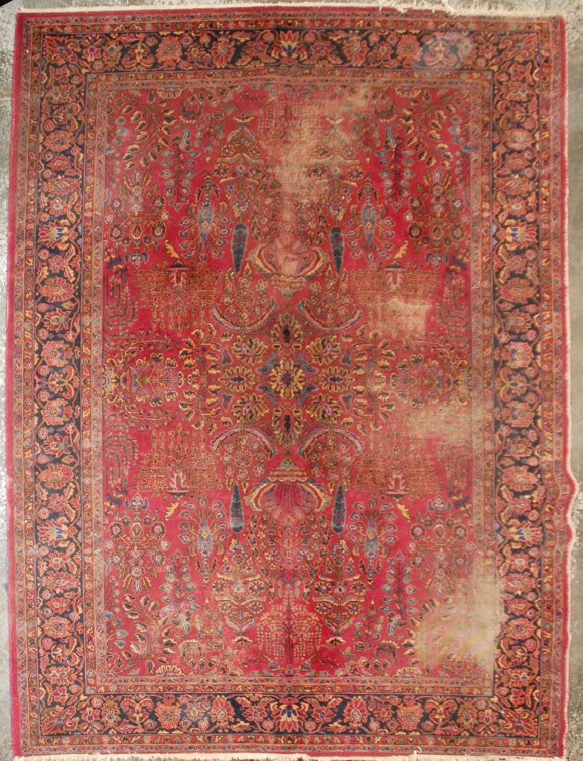 A MACHINE MADE PERSIAN STYLE ROOM SIZE RUG