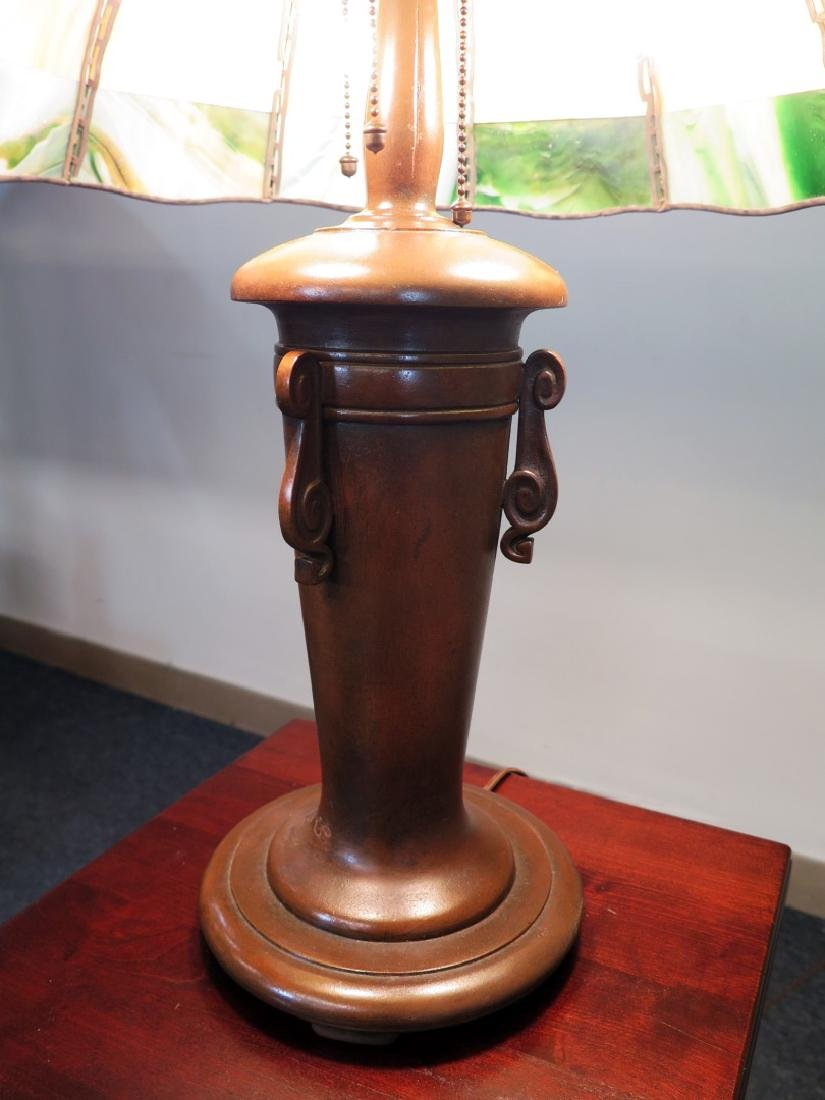A HANDEL BRONZE AND GREEN GLASS TEROCA LINE TABLE LAMP - 4