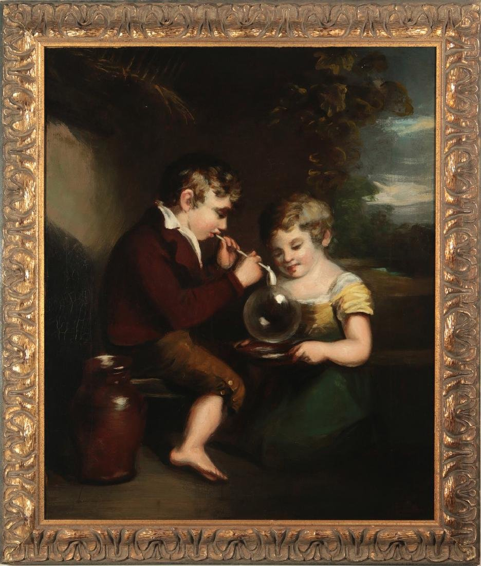 A 19THC OIL ON CANVAS OF CHILDREN AFTER W. COLLINS