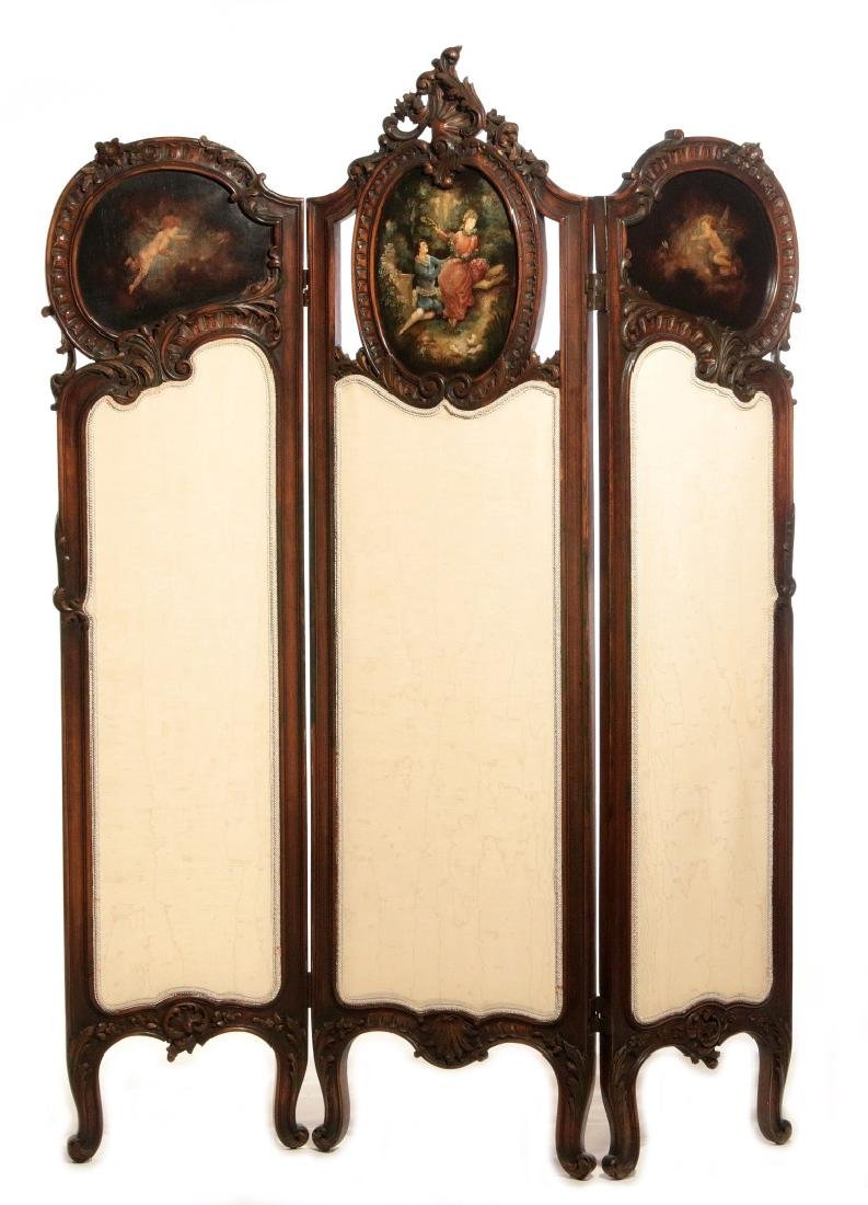A GOOD C. 1900 FRENCH THREE PANEL DRESSING SCREEN