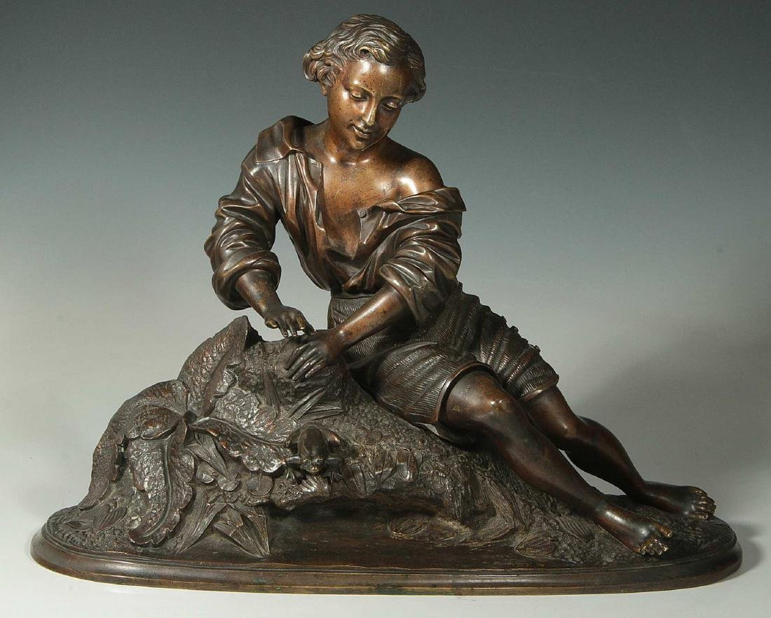 A CLASSIC 19TH C. FRENCH BRONZE FIGURE OF A YOUTH