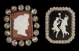 AN ANTIQUE CAMEO PENDANT, PLUS A WEISS BROOCH