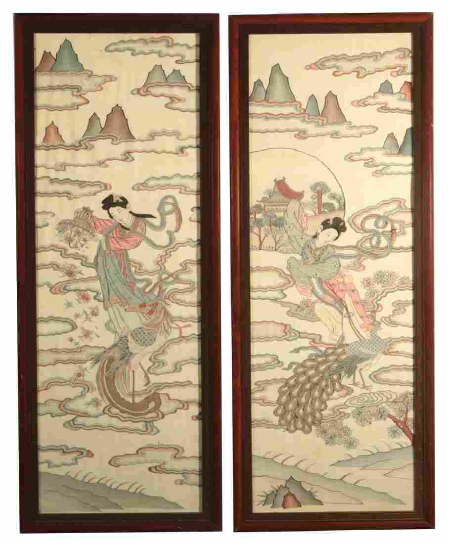EARLY 2OTH C. FRAMED CHINESE KESI TAPESTRY PANELS