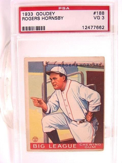 405: 1933 GOUDEY ROGERS HORNSBY #188 PSA VG 3