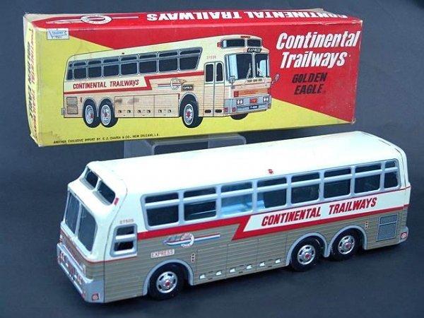 526: GOLDEN EAGLE TRAILWAYS TOY BUS IN BOX