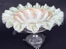 705 LARGE ENAMELED VICTORIAN BRIDES BOWL ON STAND