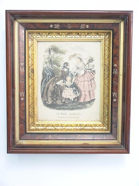853: VICTORIAN WALNUT FRAME W/ 1850'S FASHION PRINT