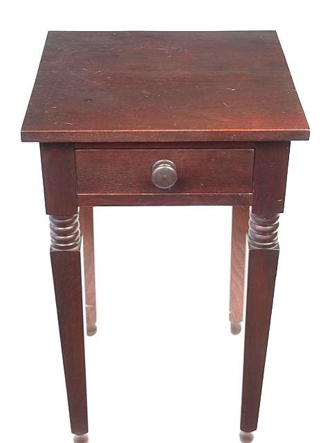 857: GOOD EARLY SOLID WALNUT ONE DRAWER STAND TABLE