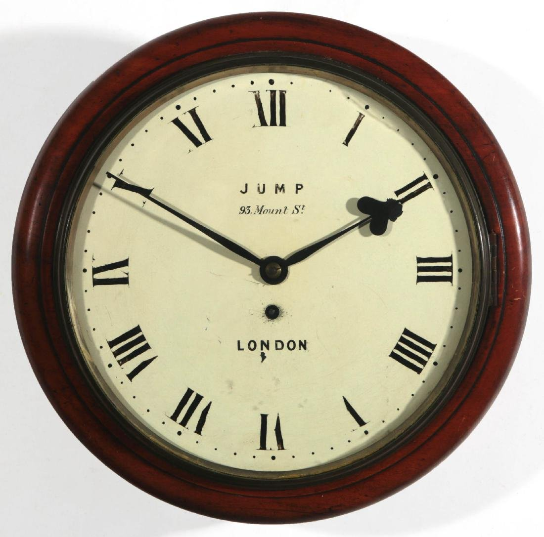 A 19TH C. ENGLISH FUSEE GALLERY CLOCK SIGNED JUMP