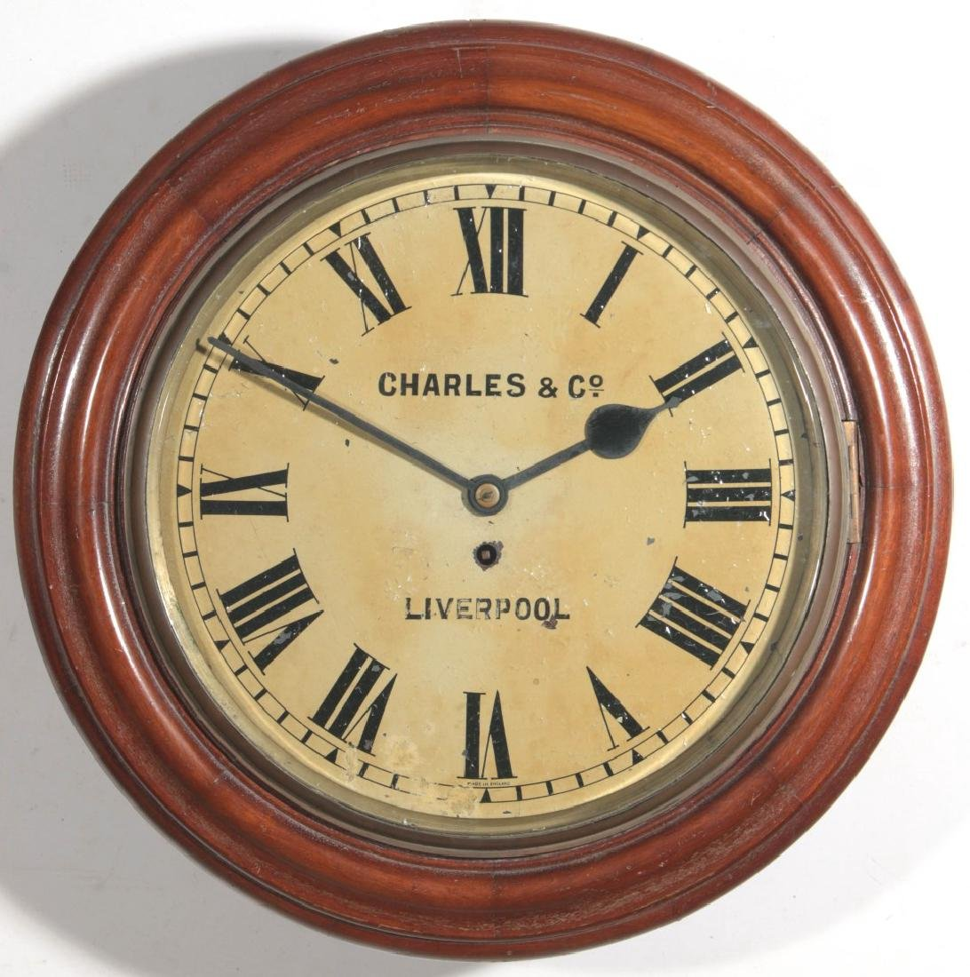 A 19THC ENGLISH FUSEE GALLERY CLOCK SIGNED CHARLES