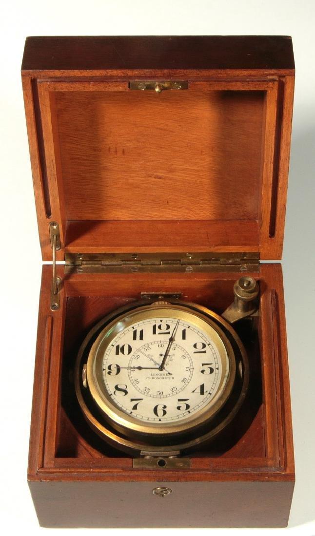 A 19TH C. LONGINES BOXED MARINE CHRONOMETER