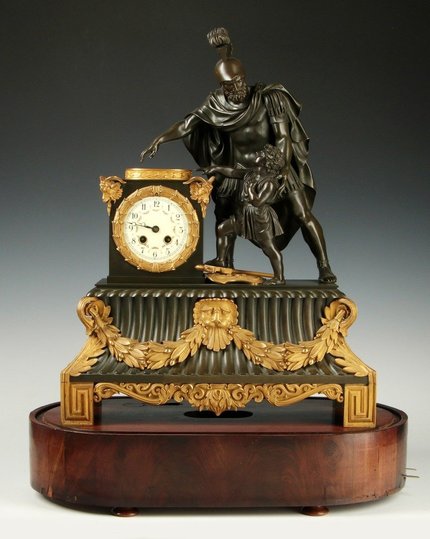A VERY FINE EARLY 19C FRENCH BRONZE CLOCK W/MUSIC