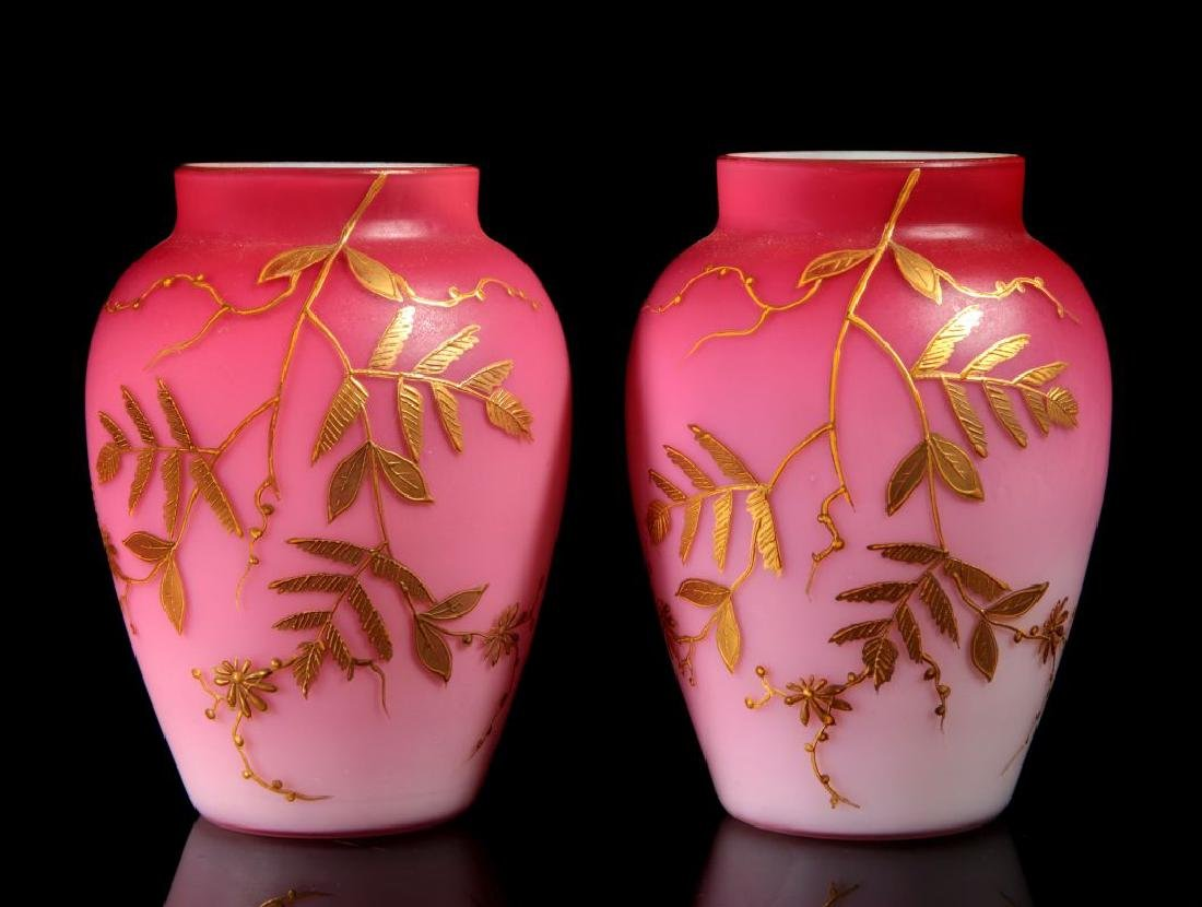 A PAIR DECORATED PEACHBLOW VASES WITH ENAMEL