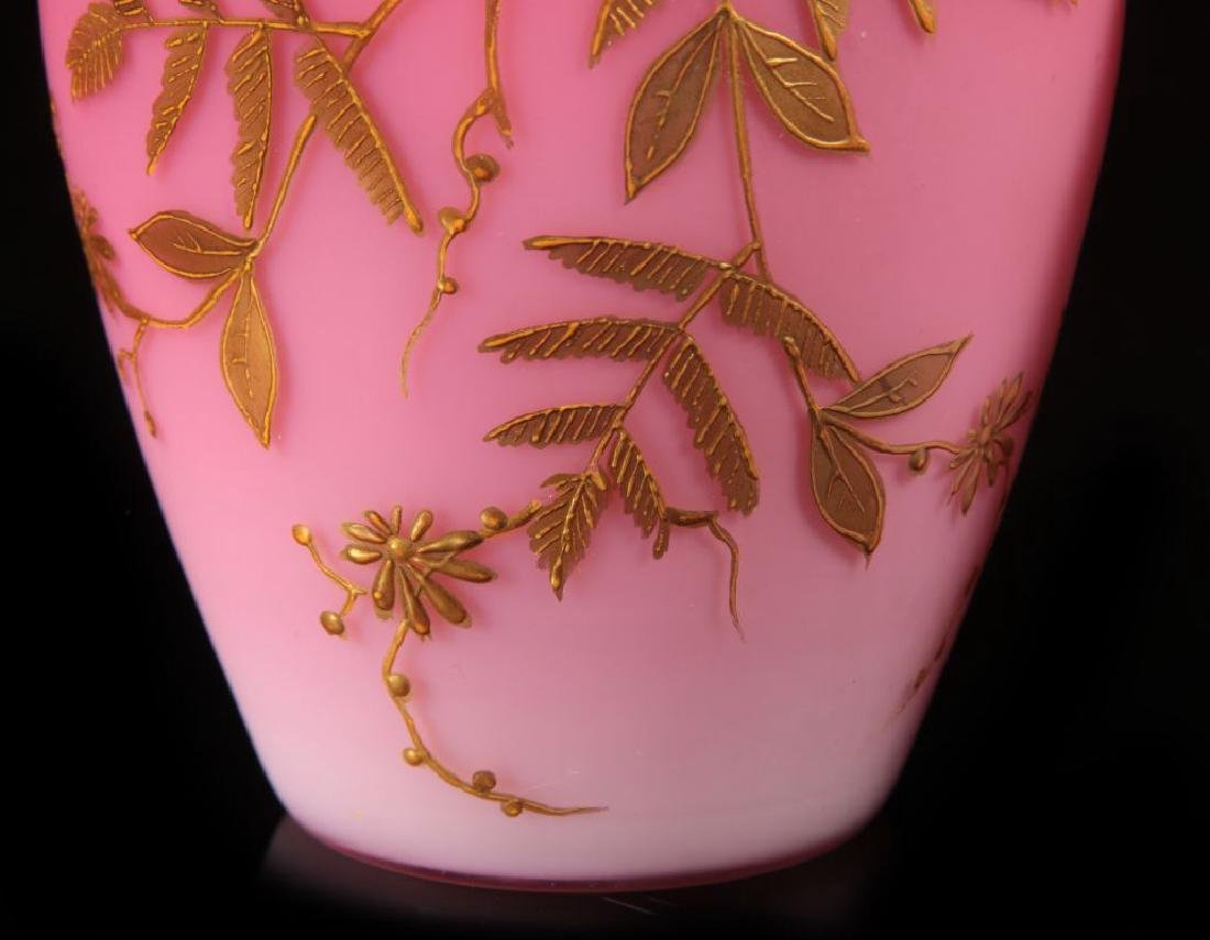 A PAIR DECORATED PEACHBLOW VASES WITH ENAMEL - 4