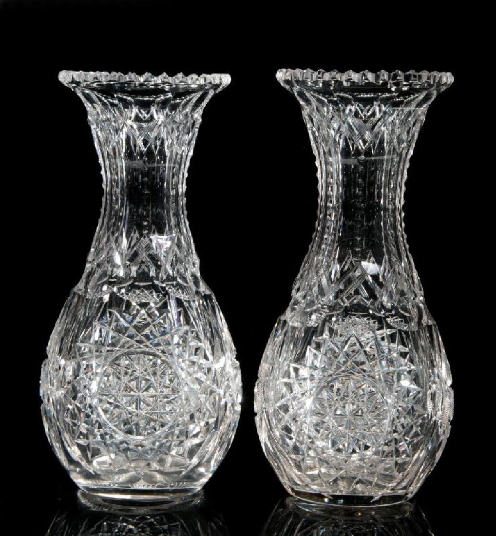 A PAIR OF CUT CRYSTAL VASES