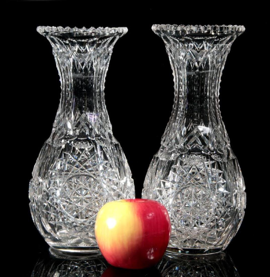 A PAIR OF CUT CRYSTAL VASES - 2