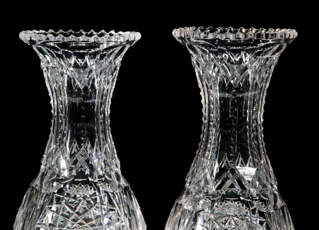 A PAIR OF CUT CRYSTAL VASES - 3