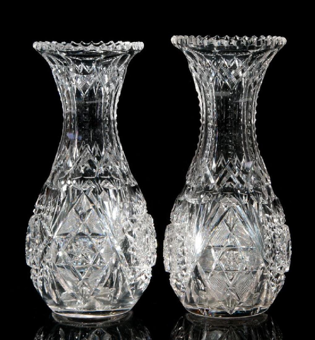 A PAIR OF CUT CRYSTAL VASES - 5