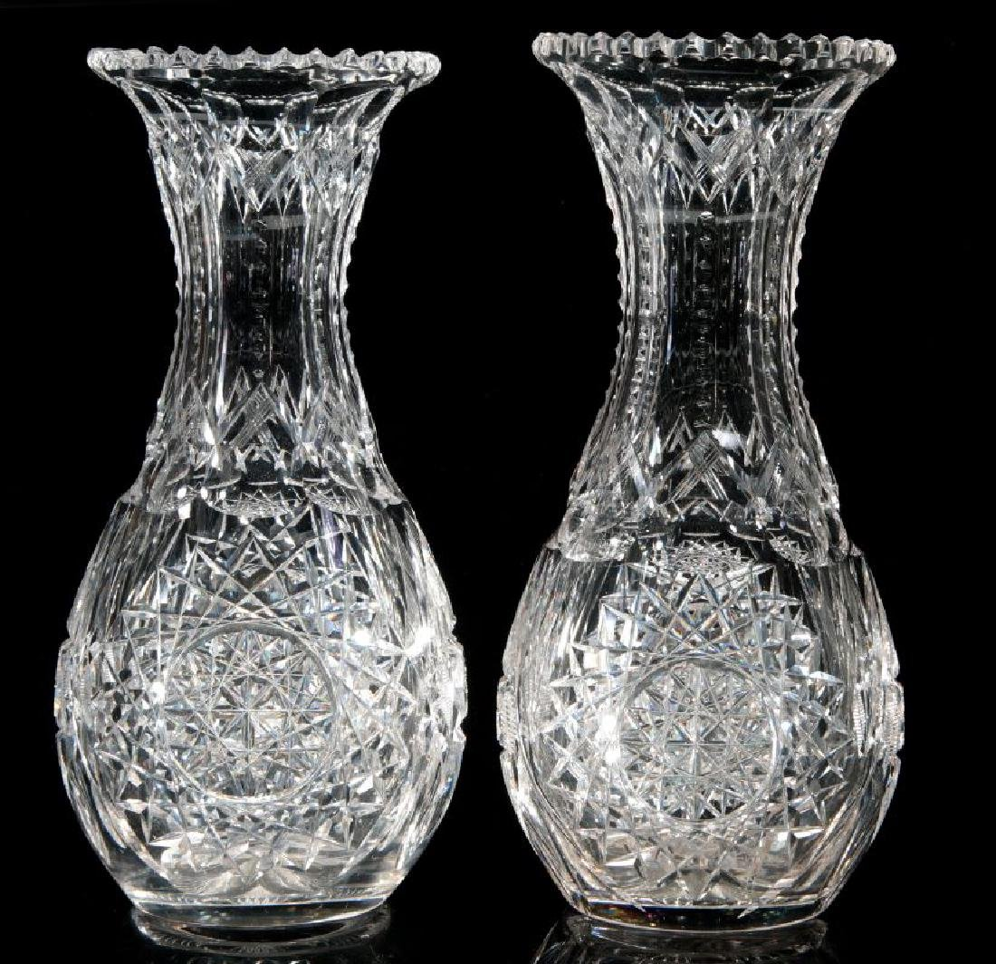 A PAIR OF CUT CRYSTAL VASES - 6
